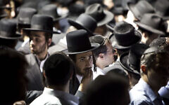 A group of Hasidic men in Borough Park, Brooklyn, July 13, 2011. (Ramin Talaie/Getty Images/via JTA)