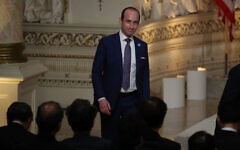 White House Senior Advisor Stephen Miller arrives before the start of a news conference at Mar-a-Lago resort on April 18, 2018 in West Palm Beach, Florida.  Getty Images