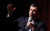 Pete Buttigieg participates in a conversation at the Morehouse College Ray Charles Performing Arts Center in Atlanta, Nov. 18, 2019. (Joe Raedle/Getty Images/via JTA)