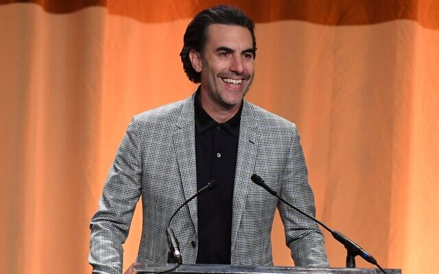Sacha Baron Cohen speaks during the Hollywood Foreign Press Association Annual Grants Banquet at The Beverly Wilshire in Beverly Hills, Calif., July 31, 2019. (Valerie Macon/AFP via Getty Images via JTA)