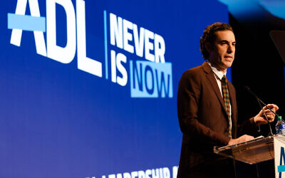 Sacha Baron Cohen speaks at the Anti-Defamation League's Never Is Now conference in New York, Nov. 21, 2019. Jennifer Liseo/ADL via JTA