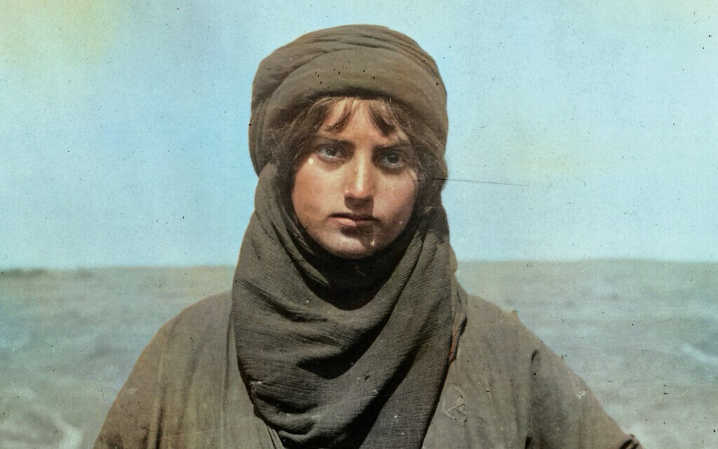 One of Matt Loughrey's colorized images of a Palestinian Bedouin woman in 1898. Courtesy of Matt Loughrey