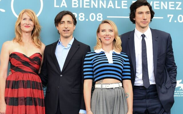 From left: Laura Dern, Noah Baumbach, Scarlett Johansson and Adam Driver at the Venice Film Festival, Aug. 29, 2019. (Alberto Pizzoli/AFP via Getty Images/via JTA)