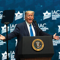 President Donald Trump speaks at the Israeli-American Council's annual conference in Hollywood, Fla., Dec. 7, 2019.  getty images