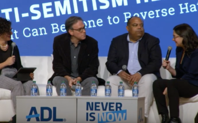 A panel at the ADL's Never Is Now summit featuring (from left) Jodi Rudoren, Bret Stephens, Eric Ward, and Bari Weiss. Image via YouTube.png