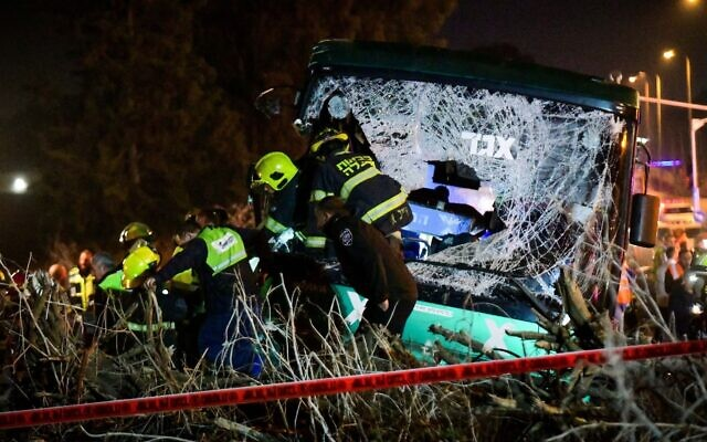 Rescue forces at the scene of a deadly bus accident on a highway near Ben Gurion International Airport, Dec. 22, 2019. (Flash90/via JTA)