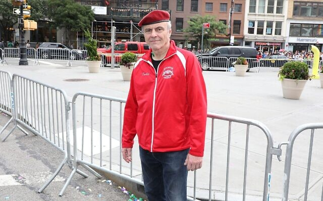 The Guardian Angels founder Curtis Sliwa at the 2018 NYC Pride March on June 24, 2018 in New York City. (Taylor Hill/Getty Images/via JTA)