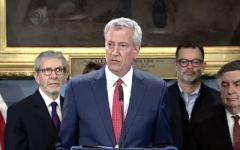 New York Mayor Bill de Blasio at a press conference at City Hall this morning where he announced the launch of a new NYPD unit to tackle ethnically and racially motivated crimes. Screenshot/Twitter