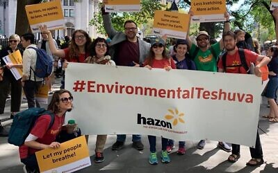 Marching for climate action with Hazon. Hazon/Facebook