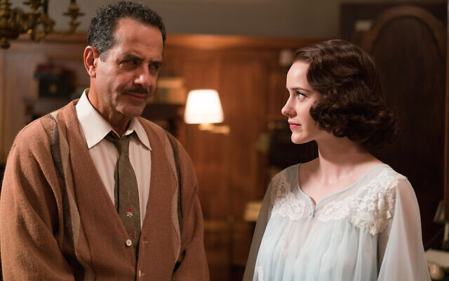 "Midge Maisel, played by Rachel Brosnahan, with her father Abe Weissman, played by Tony Shalhoub, in ""The Marvelous Mrs. Maizel."" (Amazon Studios/via JTA)"