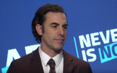 Sacha Baron Cohen at Never Is Now 2019 during his acceptance speech for the International Leadership Award. YouTube
