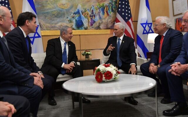 Prime Minister Benjamin Netanyahu meets with Vice President Mike Pence at the U.S. .Embassy in Jerusalem, Jan. 23, 2020. (Koby Gideon, Israeli Government Press Office)