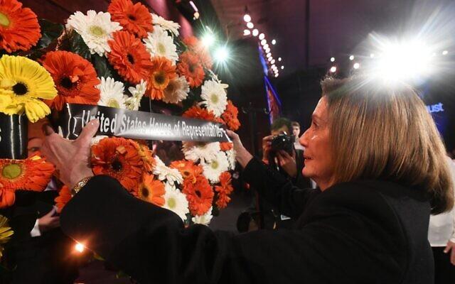 House Speaker Nancy Pelosi lays a wreath during the Fifth World Holocaust Forum in Jerusalem, Jan. 23, 2020. (Pool/Getty Images/via JTA)