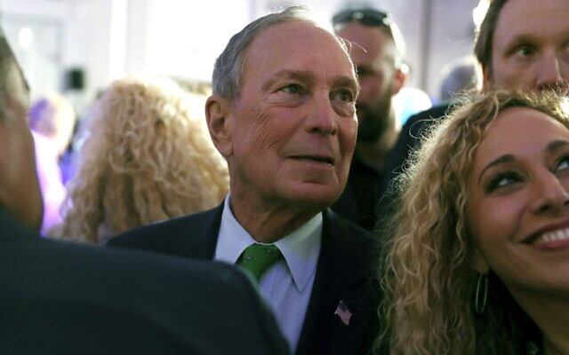 """Democratic presidential candidate Mike Bloomberg greets the crowd at a """"United for Mike"""" event held at the Aventura Turnberry Jewish Center and Tauber Academy Social Hall in Aventura, Fla., Jan. 26, 2020. (Joe Raedle/Getty Images/via JTA)"""