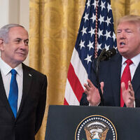 President Trump and Prime Minister Netanyahu during the peace plan announcement last month at the White House. Getty Images