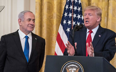 President Trump and Prime Minister Netanyahu during the peace plan announcement last Tuesday at the White House. Getty Images