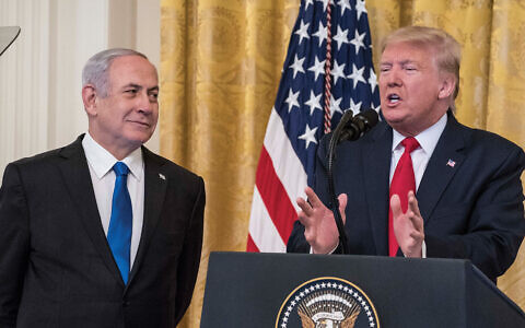 President Trump and Prime Minister Netanyahu during peace plan announcement Tuesday at the White House. Getty Images