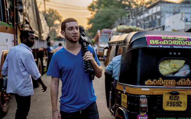 "Drew ""Binsky"" Goldberg, seen here in Kerala, India is en route to being the youngest Jew to travel to every country in the wold. Courtesy"