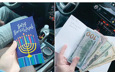 Josh Israel uploaded to Twitter photos of a lost Chanukah card to track down its recipient. Josh Israel/Twitter