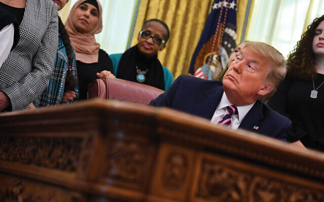 President Trump at last week's ceremony when he announced new school prayer guidelines. Getty Images