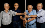 Four survivors in Tel Aviv photographed as part of The Lonka Project, a photographic compilation documenting Holocaust survivors part of which is on display at the UN in N.Y.C.. (Courtesy of Ziv Koren/The Lonka Project/via Times of Israel)