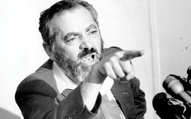 "Rabbi Meir Kahane at a New York news conference, Aug. 31, 1984. The Jewish ""street"" is thinking about the controversial rabbi's example in a time of rising anti-Semitism. Photo/JTA-Gene Kappock-NY Daily News Archive via Getty Images"