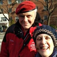 Courtesy of Fran Kritz. Fran Kritz with with Guardian Angel founder Curtis Sliwa, at the foot of the Brooklyn Bridge.