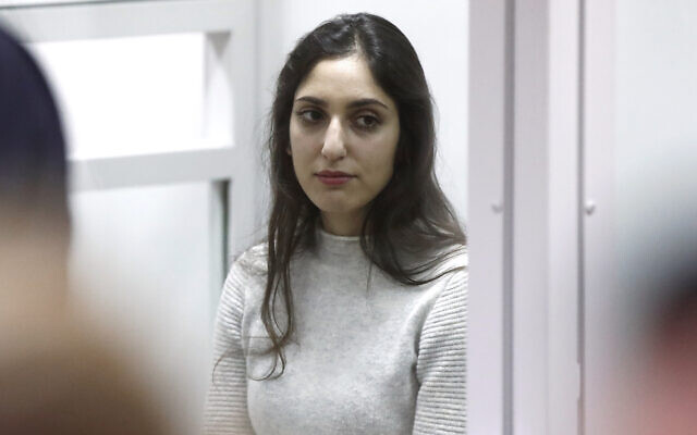 Israeli citizen Naama Issachar convicted of drug smuggling attends an appeal hearing at the Moscow Region Court in Krasnogorsk; Issachar was arrested in April 2019 at the Sheremetyevo International Airport outside Moscow during a stopover on a journey from Delhi to Tel-Aviv with 9.6 grammes of marijuana in her bag. In October 2019, the Khimki Court sentenced her to 7.5 years in prison. JTA