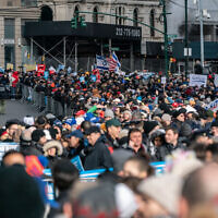 NEW YORK, NY - JANUARY 05: People participate in a Jewish solidarity march on January 5, 2020 in New York City. The march was held in response to a recent rise in anti-Semitic crimes in the greater New York metropolitan area. (Photo by Jeenah Moon/Getty Images)