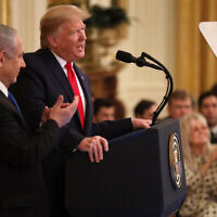 WASHINGTON, DC - JANUARY 28: U.S. President Donald Trump speaks during a press conference with Israeli Prime Minister Benjamin Netanyahu (L) in the East Room of the White House on January 28, 2020 in Washington, DC. President Trump is expected to release details of his administration's long-awaited Middle East peace plan to resolve the Israeli-Palestinian conflict. (Photo by Alex Wong/Getty Images)