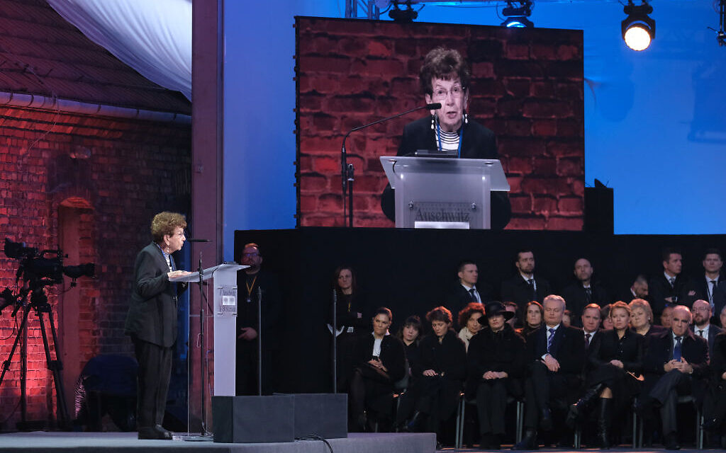 OSWIECIM, POLAND - JANUARY 27:  Auschwitz survivor Batszewa Dagan speaks at the official ceremony to mark the 75th anniversary of the liberation of the Auschwitz concentration camp at the Auschwitz-Birkenau site on January 27, 2020 near Oswiecim, Poland. International leaders as well as approximately 200 survivors and their families are gathering today at Auschwitz today to attend the commemoration. The Nazis killed an estimated one million people at the camp during the World War II occupation of Poland by Nazi Germany. The Soviet Army liberated the camp on January 27, 1945. Getty Images