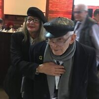 Israeli writer Moshe Haelion,  born in Thessaloniki, Greece, survived Auschwitz, the death march, and the Mauthausen, Melk, and Ebensee camps. He attended a welcome dinner for survivors in Krakow on Jan. 26 with his daughter Rachel Haelion- Meseritz. Andrew Silow-Carroll/JW