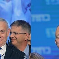 Left: Israeli Prime Minister Benjamin Netanyahu. Right: Benny Gantz, leader of the Blue and White (Kahol Lavan) political alliance. MENAHEM KAHANA,EMMANUEL DUNAND/AFP via Getty Images