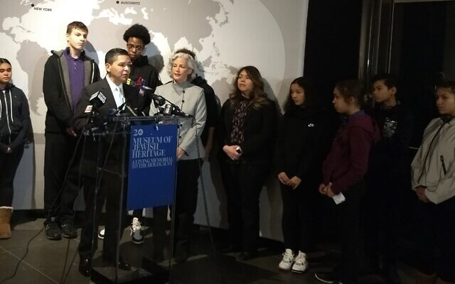 New York City Schools Chancellor Richard Carranza speaks at a news conference prior to a students' tour of the Museum of Jewish Heritage in New York City, Jan. 15, 2020. (Ben Sales/via JTA)