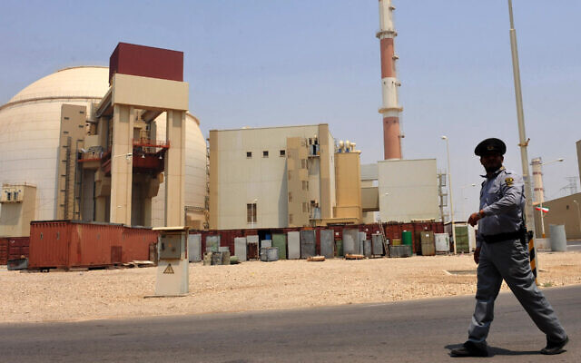 A view of the Russian-built Bushehr nuclear power plant in southern Iran, Aug. 21, 2010. (IIPA via Getty Images/via JTA)