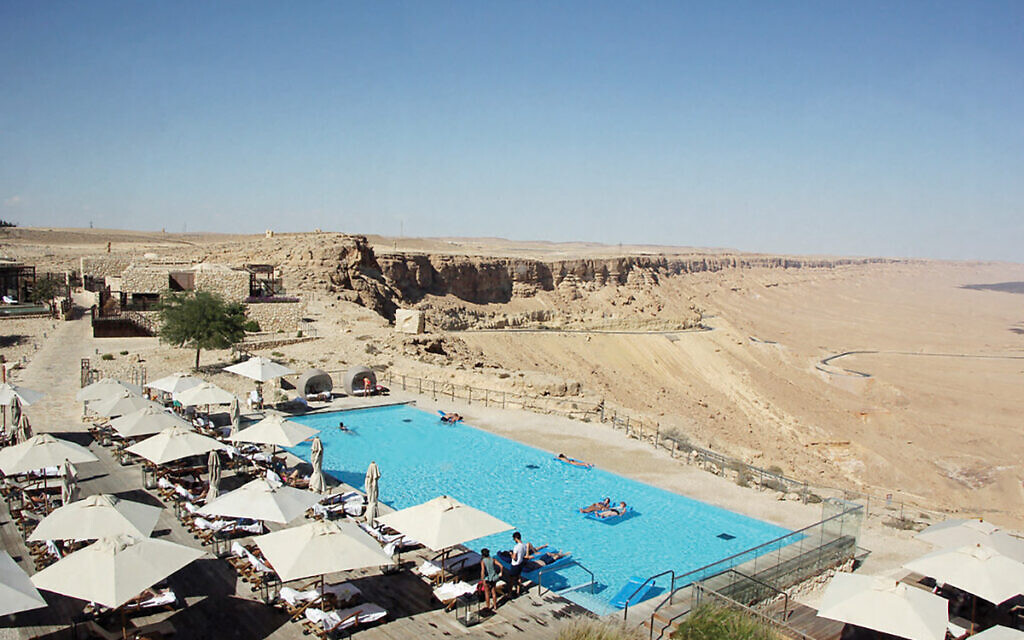The pool at the Beresheet Hotel, located at the rim of the Mitzpe Ramon crater in the Negev.  Flickr