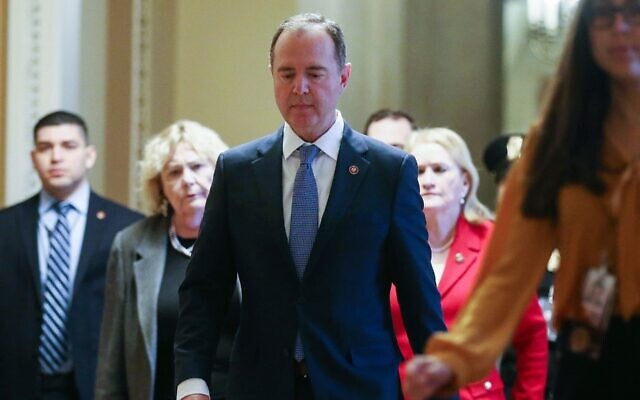 House impeachment manager Adam Schiff walks toward the Senate chamber at the U.S. Capitol for the trial of President Donald Trump, Feb. 5, 2020. (Mario Tama/Getty Images/via JTA)