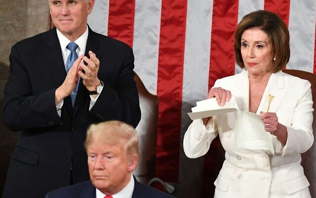House Speaker Nancy Pelosi rips a copy of President Donald Trump's speech after he delivered the State of the Union address at the U.S. Capitol, Feb. 4, 2020. (Mandel Ngan/AFP via Getty Images/via JTA)