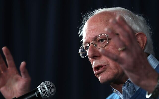 : Democratic Presidential Candidate Sen. Bernie Sanders (I-VT) speaks during a press conference at his New Hampshire campaign headquarters in Manchester, New Hampshire. on February 06, 2020. (Justin Sullivan/Getty Images/via JTA)