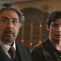 "Al Pacino, left, and Logan Lerman in ""Hunters."" Christopher Saunders"