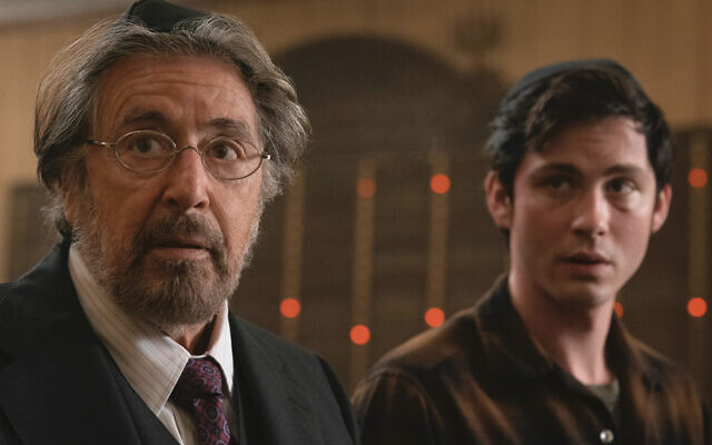 """Al Pacino, left, and Logan Lerman in """"Hunters."""" Christopher Saunders"""