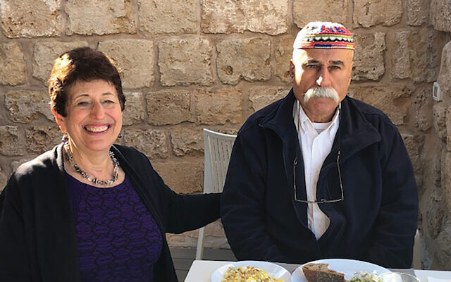 The author and her Druze friend, Mohammed Abu Rish, in Akko. Courtesy of Elaine Shizgal Cohen