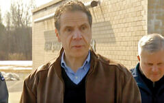 Gov. Cuomo on Sunday outside the JCC in Albany, site of a bomb threat. YouTube