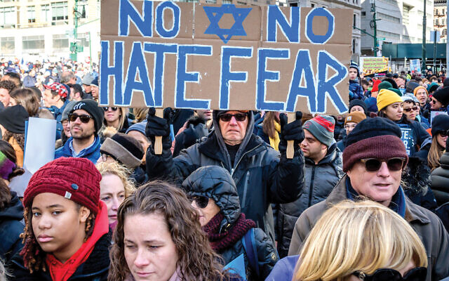 "Last month's ""No Hate. No Fear"" solidarity march against anti-Semitism here. Erik McGregor/LightRocket via Getty Images"
