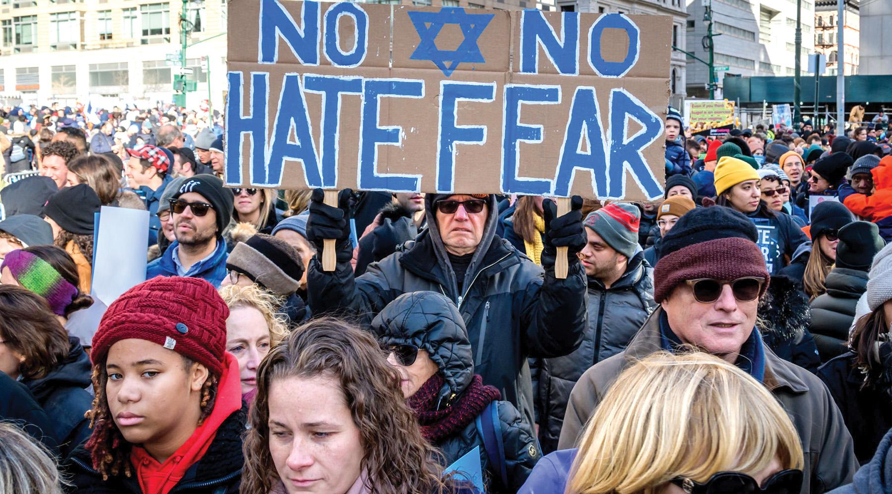 "Last month's ""No Hate. No Fear"" solidarity march against anti-Semitism here. Erik McGregor/LightRocket via Getty Images"
