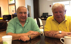"Trump supporters Barry Rubin and Stu Marowitz in the ""bagel room"" of the Polo Club in Boca Raton. Stewart Ain/JW"