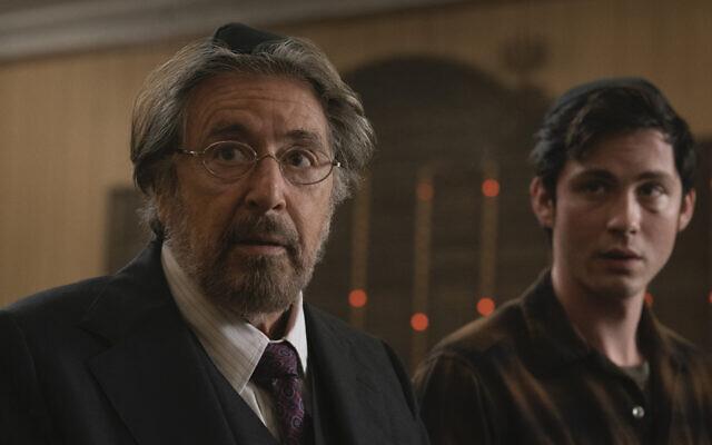 "Al Pacino, left, and Logan Lerman are Jews out for revenge in Amazon Studios' ""Hunters."" (Christopher Saunders/via JTA)"