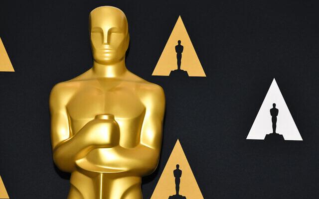 An Oscar statue at the Samuel Goldwyn Theater in Beverly Hills, Calif., Feb. 4, 2020. (Rodin Eckenroth/Getty Images/via JTA)