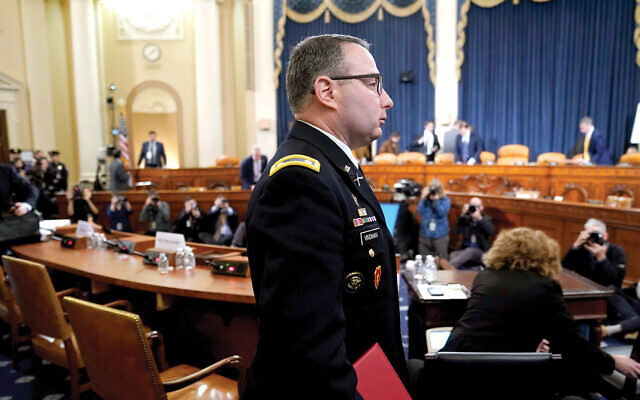 Lt. Col. Alexander Vindman during the House impeachment inquiry. Attacks on him (and his twin brother) contribute to a war on immigrants. Getty Images