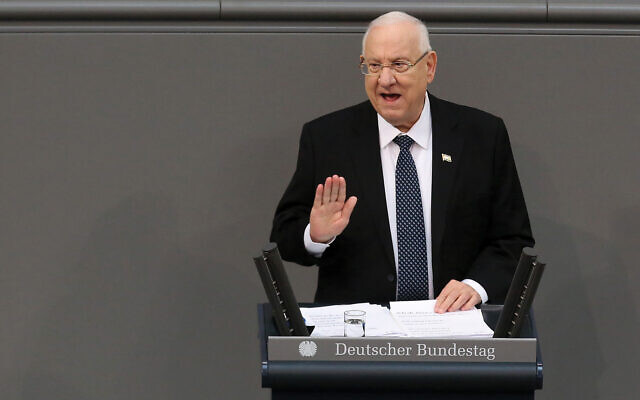 """Israeli President Reuven Rivlin, speaking here recently in Germany. His compromise """"incapacitation"""" proposal should be heeded. Getty Images"""